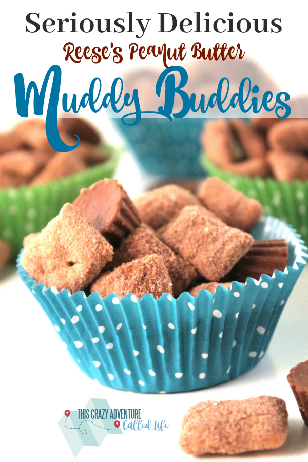 These Reese's Peanut Butter Cup Muddy Buddies are sure to be a hit. Great recipe for kids to help with. Perfect snack or party food. #recipe #kids #dessert #party #muddybuddies #simplerecipe #ThisCrazyAdventureCalledLife