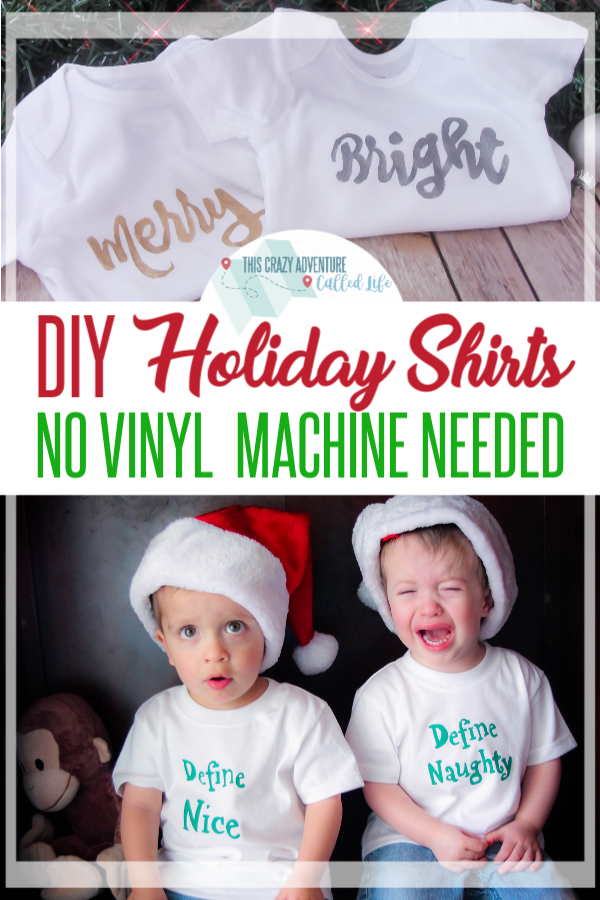 Super cute DIY holiday shirts and onesies that you can make without a vinyl cutter. Freezer paper tees are so fun and budget-friendly. Plus some super cute baby and twin theme ideas. Perfect for photos, home-made Christmas pajamas, and more. This craft can be done in an hour or two. #ThisCrazyAdventureCalledLife #Shirts #Holidays #Christmas #DIY #Crafts #Twins via @thebeccarobins