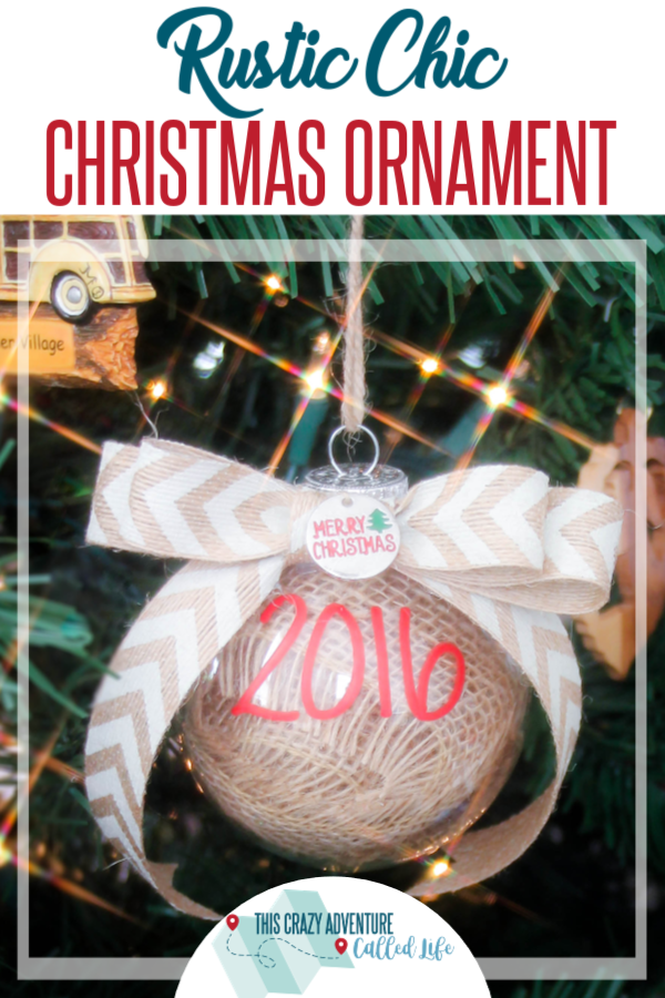 DIY Burlap Rustic Chic Ornament is perfect for party favors, gifts, and more. Works for rustic to traditional decor and beyond. Great Christmas Craft! This simple craft is perfect for those wanting to add a little DIY to their holiday tree. #DIY #ChristmasOrnament #ThisCrazyAdventureCalledLife