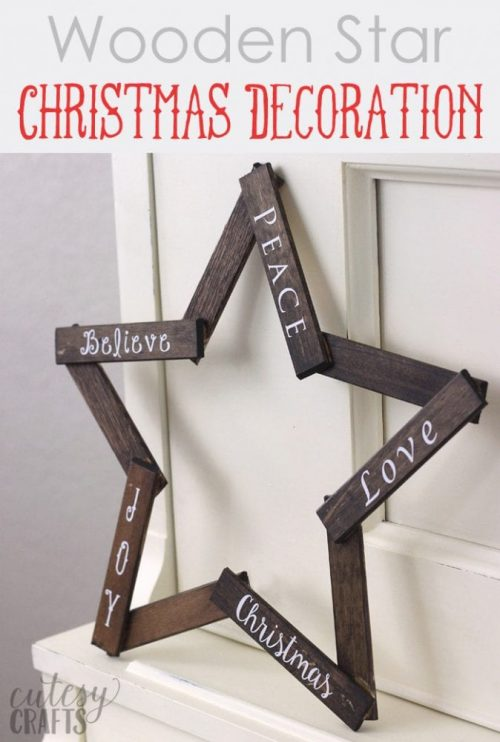 Wooden Star Christmas Decoration | 26 Inspiring and Easy Christmas DIYs | This Crazy Adventure Called Life