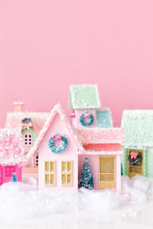 DIY Colorful Christmas Village | 26 Inspiring and Easy Christmas DIYs | This Crazy Adventure Called Life