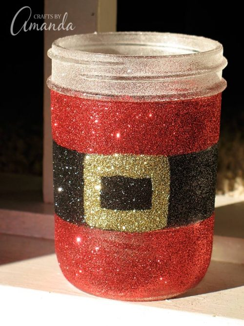 Glittery Santa's Belly Jar | 26 Inspiring and Easy Christmas DIYs | This Crazy Adventure Called Life