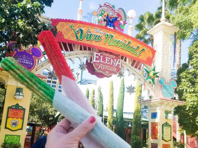 Red and Green holiday churros at Disneyland