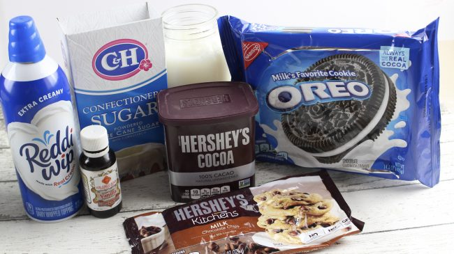 ingredients for slow cooker cookies and cream hot cocoa