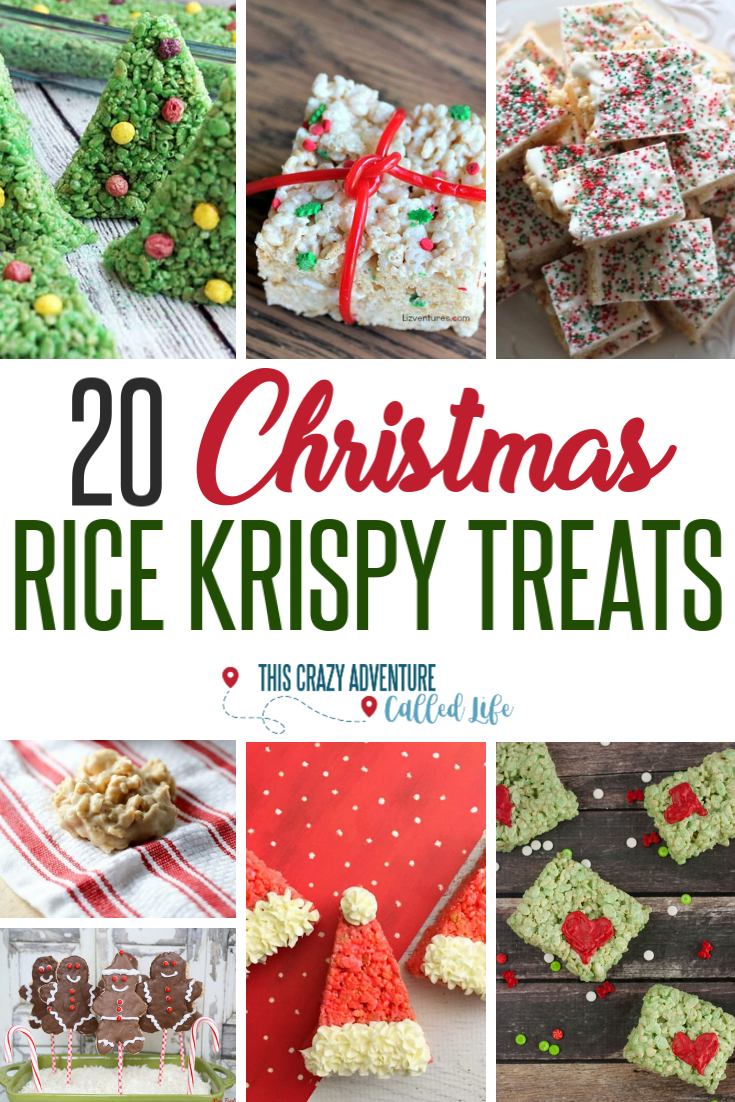 Rice Krispy Treats are the perfect dessert or treat for a Christmas party at school, church, or to give to neighbors. Check out these twenty recipes for Christmas themed Rice Krispie Treats. Easy recipes that are kid friendly. #ChristmasRecipe #RiceKrispyTreats #ThisCrazyAdventureCalledLife