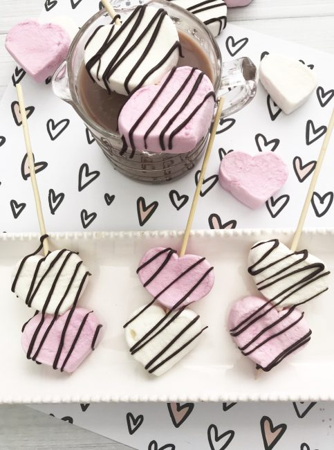 heart shaped marshmallow stirrers for hot cocoa