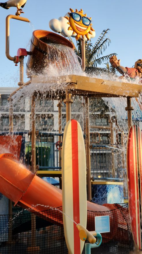 drench bucket dumping at Surfside waterpark at Courtyard Theme Park Entrance