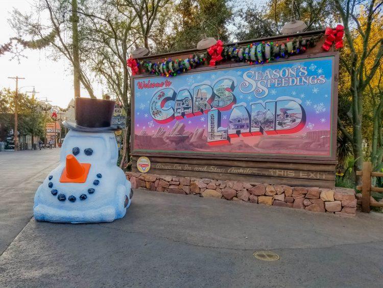 Christmas at Disneyland Cars Land entrance