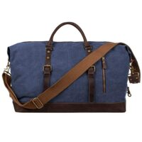S-ZONE Oversized Canvas Genuine Leather Travel Bag