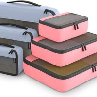 Set of 6 Light Grey and Pink Packing Cubes