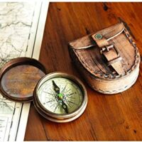Antiqued Brass Compass with Leather Case