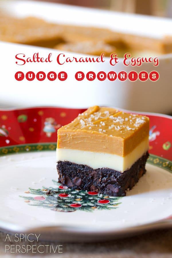 Salted Caramel Eggnog Brownies