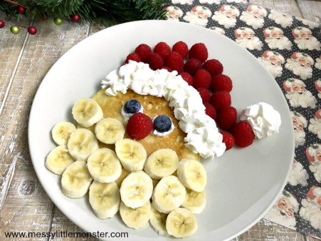 pancake with banana slices to look like santa