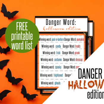 picture of free printable list of words for danger word halloween game