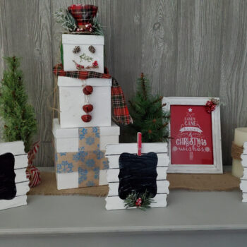 Dollar Store Christmas Crafts, Farmhouse decor on display. Includes 3 picture frames, gift box snow man and a picture frame with tin.